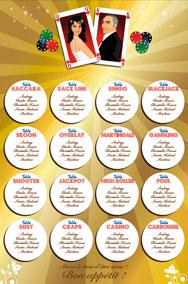 Plan de tables de mariage original – poster placement table thème casino jeu las vegas cartes poker roulette