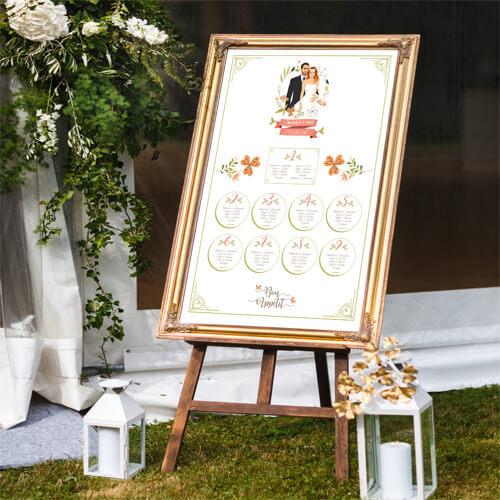 Plan de tables de mariage original – thème champêtre nature vert corail blanc chic campagne