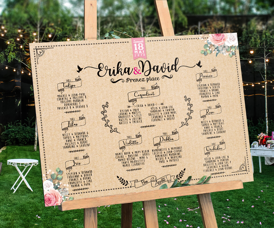Plan de tables de mariage original panneaux a roport ou - Exemple plan de table mariage ...