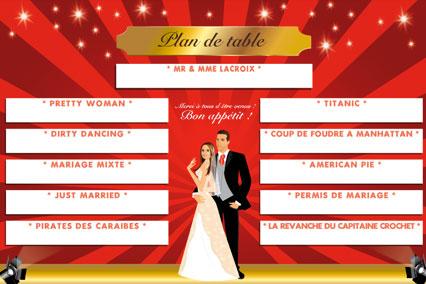 Plan de tables de mariage original – poster placement table thème cinéma oscar tapis rouge flash tournage star