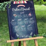 plan de table de mariage gourmand champêtre vintage à l'aspect ardoise et écriture à la craie rétro qui donnera une touche campagne gourmande à votre mariage bohème