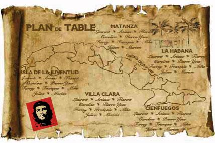 Plan de tables de mariage original – poster placement table thème voyage Cuba plan carte ile Che