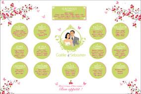 Plan de tables de mariage original – poster placement table thème nature fleurs vert rose papillon pommier