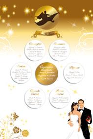 Plan de tables de mariage original – poster placement table thème voyage 1001 nuits mille et une nuits aladin oriental tapis volant