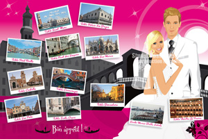 Plan de table original placement - Thème voyage Venise - cartes postales - rose fuschia