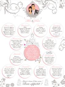 plan de tables de mariage original – poster placement table thème fleurs roses vert rose poudré romantique zen boudha pierre cailloux galet lotus