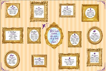 plan de table de mariage crème et or doré sur le thème princesse, conte de fées, avec miroirs doré et fée clochette