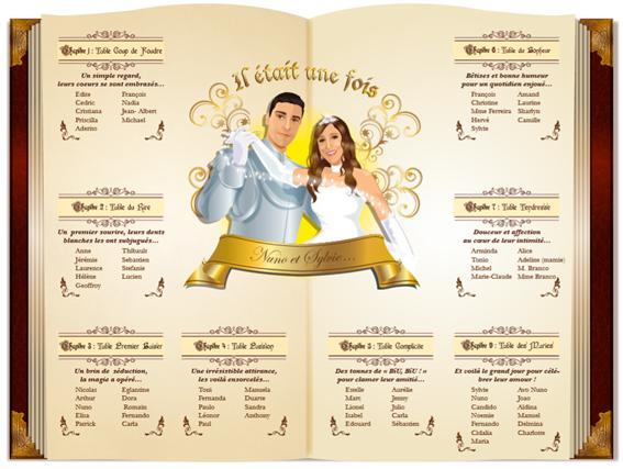 Plan de tables de mariage original – poster placement table thème baroque princesse il était une fois féérique livre de conte de fées