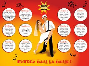 Plan de tables de mariage original – poster placement table thème romantique salsa danse dance musique rumba tchatcha cuba tango