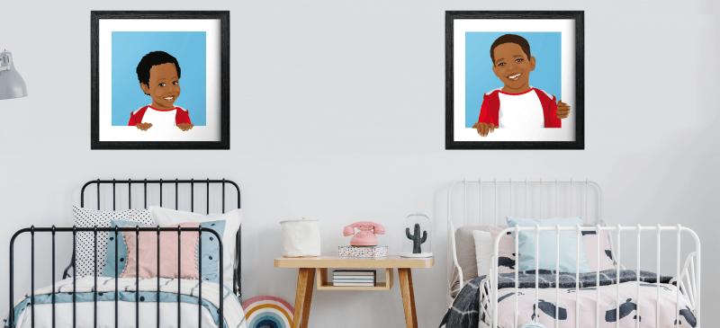 Portrait d'enfant en dessin d'après vos photos. Réalisez un tableau original de votre enfant, bébé ou ado. Personnifiez votre intérieur à votre image avec des portraits en dessins originaux réalisés d'après vos photos. Apportez une petite touche originale à la chambre de votre enfant, personnelle et drôle à votre décoration d'intérieur avec ces tableaux aux couleurs personnalisables. Idée de cadeau original. Décoration en guise de tête de lit originale, dans votre salon ou dans votre bureau! Un vrai cadeau original pour Noël ou un anniversaire !
