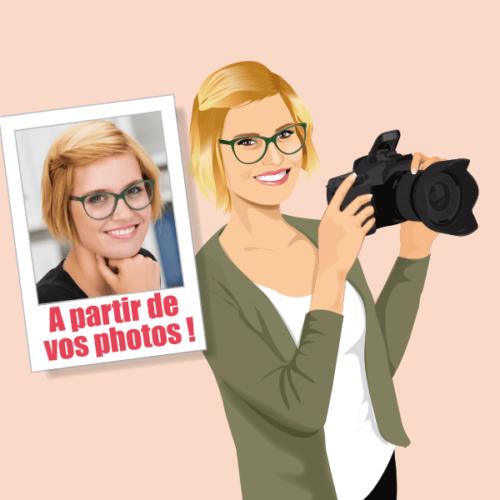 Vous êtes photographe, démarquez-vous avec un portrait à votre image pour votre profil de réseaux sociaux professionnel pour travailleur indépendant, freelance ou auto-entrepreneur. Retrouvez votre illustration caricature sur votre carte de visite originale.