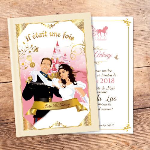 faire-part de mariage original romantique conte de fée, princesse, cendrillon prince charmant Il était une fois Couple de mariés en prince charmant et princesse style cendrillon - fond crème beige or et rose poudré avec le château de la Belle au bois dormant