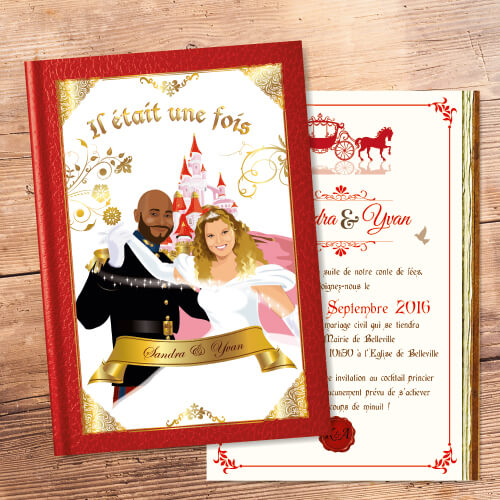 Princesse Mariage Faire Part Cendrillon Livre Original Rouge