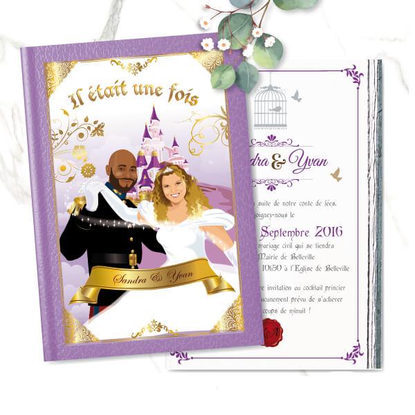 faire-part de mariage original romantique conte de fée, princesse, cendrillon prince charmant Il était une fois Couple de mariés en prince charmant et princesse style cendrillon - fond or violet parme lilas et blanc avec le château de la Belle au bois dormant
