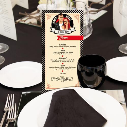 Menu de mariage sur le thème musique Rock Rouge et noir avec perfecto et robe à pois