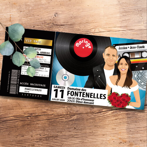 Faire-part ticket de mariage original et drôle Billet de concert Rock'n'Roll – musique années 80 90 CD et cassette – Fun et décalé
