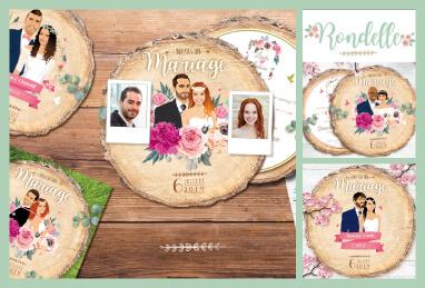Faire-part de mariage original – fond rondelle de bois Couple sur fond bois nature champêtre – fond herbe