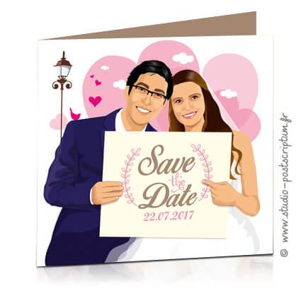 Save the date annonce de mariage original romantique – Bohème chic Couple fond coeur – rétro vintage crème vieux rose beige