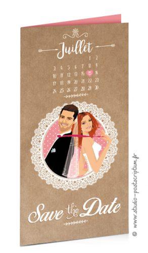 Save the date annonce de mariage original romantique – Bohème chic Couple et fleur sur fond kraft – rétro vintage crème vieux rose Bobo chic – Hippy chic
