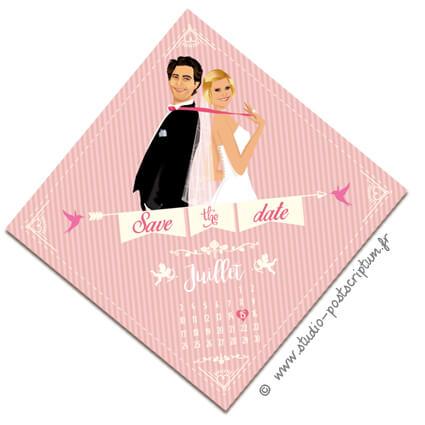 Save the date annonce de mariage original romantique – Bohème chic Couple sur fond kraft rose – rétro vintage crème vieux rose Bobo chic – Hippy chic – drôle – losange