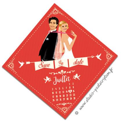 Save the date annonce de mariage original romantique – Bohème chic Couple sur fond kraft rouge – rétro vintage crème Bobo chic – Hippy chic – drôle – losange