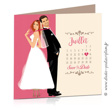 Save the date annonce de mariage original romantique – Bohème chic Couple sur fond kraft – rétro vintage crème vieux rose beige Bobo chic – Hippy chic