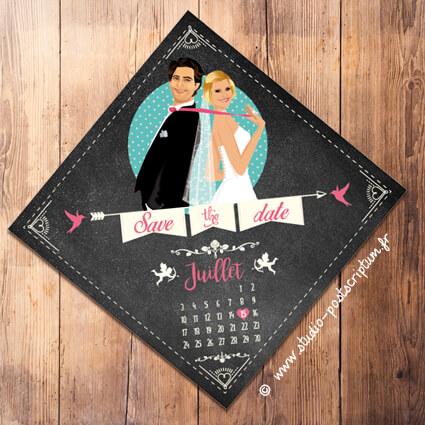 Save the date annonce de mariage original romantique – Bohème chic Couple sur fond ardoise – rétro vintage crème vieux rose Bobo chic – Hippy chic – drôle – losange