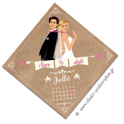 Save the date annonce de mariage original romantique – Bohème chic Couple sur fond kraft – rétro vintage crème vieux rose Bobo chic – Hippy chic – drôle – losange