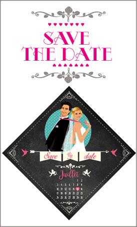 Save the date annonce de mariage original romantique – Bohème chic Couple et fleur champêtre – rétro vintage poudré Bobo chic – Hippy chic