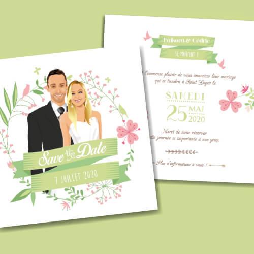 Save the Date original – bohème chic boho – vintage fleurs couleurs pastel Vert tendre rose poudré, rose corail, vert eau
