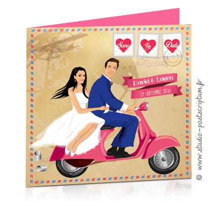Save the date annonce de mariage original romantique – Bohème chic Couple sur vespa avec fond kraft – rétro vintage vieux airmail courrier Bobo chic – Hippy chic – fun décalé – drôle