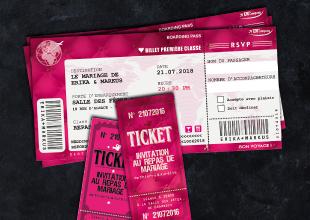 mariage - ticket cinéma baroque et billet d'avion rose fuschia blanc et noir. Avec fond capitonné baroque