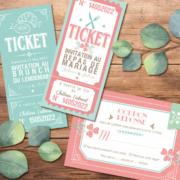 Coupons repas pour invitation de mariage - thème romantique chic rose , bleu vert mint corail , coeurs rose pastel poudré - Style amour minimaliste romantique - coupons réponse RSVP et ticket repas et ticket brunch