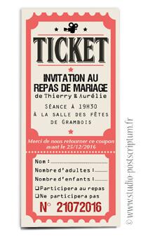 ticket cinéma mariage original vintage rétro - couleurs poudré rose vert bleu tendre clair beige - studio postscriptum