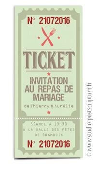 ticket cinéma mariage original gourmandise - vintage rétro - gourmand vert tendre clair chocolat - studio postscriptum