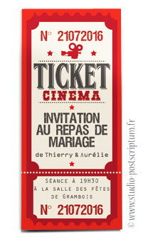 ticket cinéma mariage original vintage rétro - couleurs rouge noir clair beige - studio postscriptum