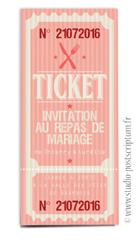 ticket cinéma mariage original gourmandise - vintage rétro - gourmand rose - studio postscriptum