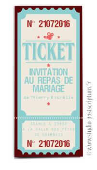 ticket cinéma mariage original gourmandise - vintage rétro - gourmand bleu crème - studio postscriptum