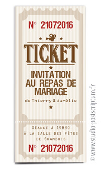 ticket cinéma mariage original champêtre - vintage rétro - studio postscriptum