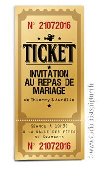 ticket cinéma mariage original vintage rétro - film or doré - studio postscriptum