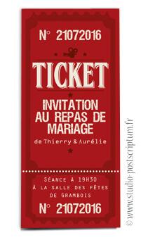 ticket cinéma mariage original vintage rétro - film rouge bordeaux noir - studio postscriptum