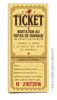 ticket cinéma mariage original vintage rétro - film rouge jaune noir - studio postscriptum