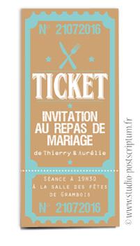ticket cinéma mariage original vintage rétro - kraft couleurs poudré rose vert bleu tendre clair beige - studio postscriptum