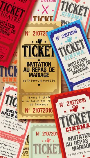 ticket cinéma mariage original vintage rétro - film couleurs poudré rose vert bleu tendre clair beige - © studio postscriptum