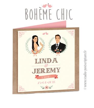 Faire-part de mariage trendy original romantique - Bohème chic - Couple et fleur sur fond kraft - rétro vintage crème vieux rose Bobo chic - Hippy chic